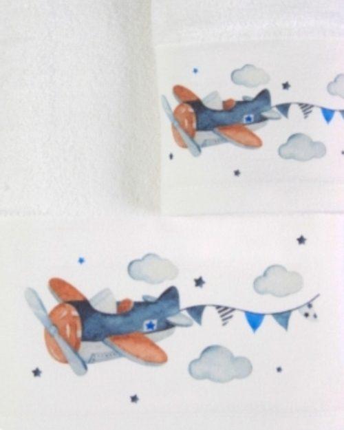 Πετσέτες Σετ 2 τεμαχίων Αεροπλανάκι