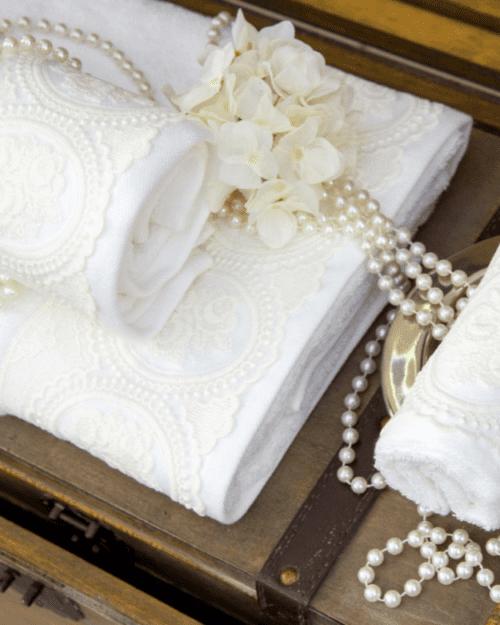 Πετσέτες Σετ 3 τεμαχίων με διακοσμητική δαντέλα