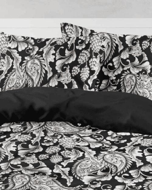 Σεντόνια Εμπριμέ Σετ Victorian Μαύρο Υπέρδιπλα