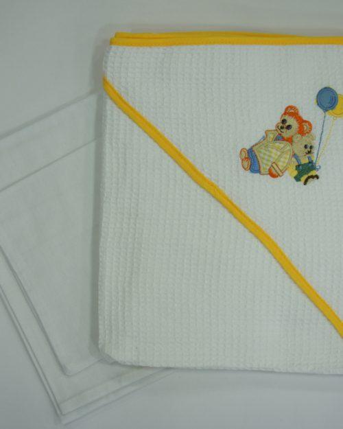 Σετ Bebe 3 τεμαχίων λευκό-κίτρινο αρκουδάκια